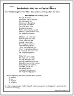 Reading Poetry Main Idea and Textual Evidence Worksheet