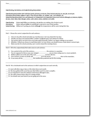 Subordinating conjunctions worksheets for 5th grade
