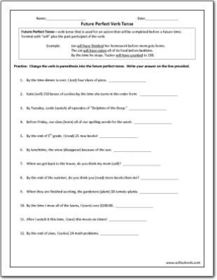 Perfect Verb Tense Worksheet - careless.me