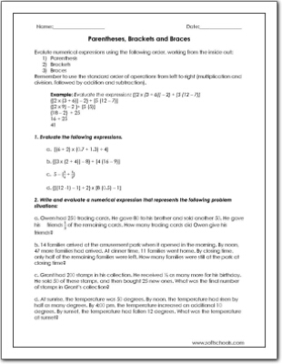 Parentheses, Brackets and Braces Worksheet