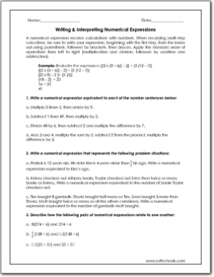 Writing Interpreting Numerical Expressions Worksheet