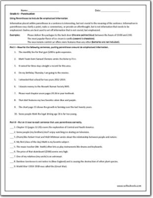 Grade 6   Punctuation Worksheet