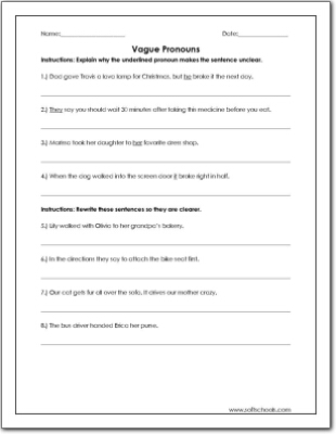 vague pronouns worksheet the best and most comprehensive worksheets. Black Bedroom Furniture Sets. Home Design Ideas