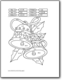 Christmas Tree Color By Number Subtraction Worksheet