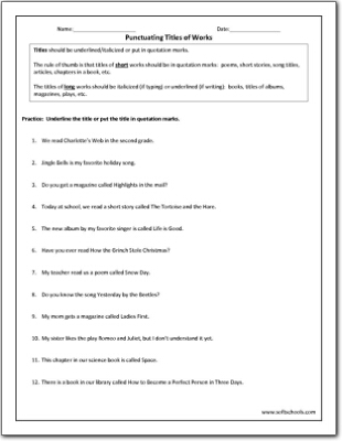 Punctuating Titles of Works Worksheet