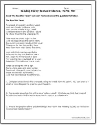 reading poetry textual evidence theme plot worksheet. Black Bedroom Furniture Sets. Home Design Ideas