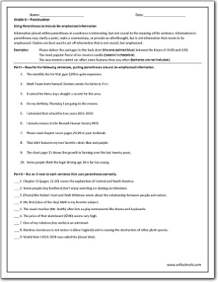grade 6 punctuation worksheet. Black Bedroom Furniture Sets. Home Design Ideas