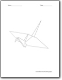 origami crane coloring pages   Japan Coloring Pages