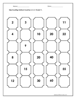 Skip Counting Vertical: Count by 2, 3, 5, 10 and 11. Worksheet