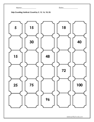 Number Names Worksheets skip counting by 3 worksheets : Skip Counting Vertical: Count by 5, 15, 16, 18, 20. Worksheet