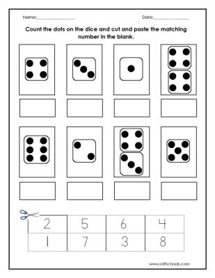count the dots on the dice and cut and paste the matching number in the blank worksheet. Black Bedroom Furniture Sets. Home Design Ideas