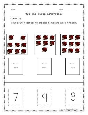 Cut and paste worksheets for number 7,8 and 9 Worksheet