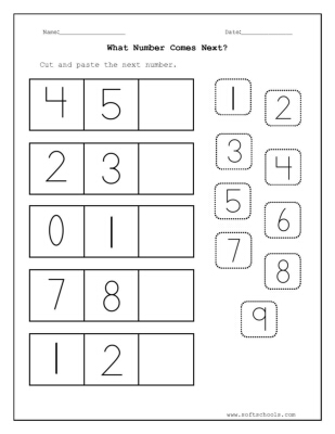 Cut And Paste The Next Number Worksheet Shapes Cut And Paste Math Worksheets Cut And Paste The Next Number