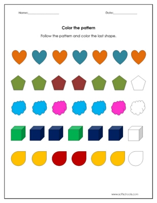 Color the Pattern Worksheet Worksheet
