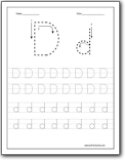 Letter D Trace Worksheet