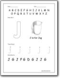letter j worksheets alphabet j sound handwriting worksheets for preschool and kindergarten. Black Bedroom Furniture Sets. Home Design Ideas