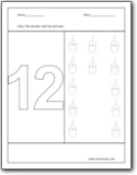 Worksheets Number 12 For Pre 123 Coloring Pages Educational Fun Kidark