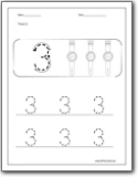Number 3 Trace WorksheetNumber 3 Worksheets For Preschool