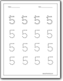 tracing numbers 1 5 worksheets