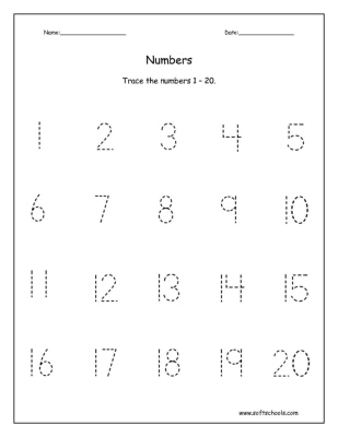 Trace the numbers 1 – 20. Worksheet