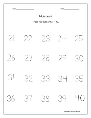 Trace the numbers 21 – 40. Worksheet