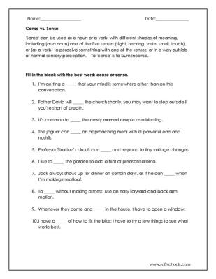 Cense vs. Sense Worksheet Worksheet