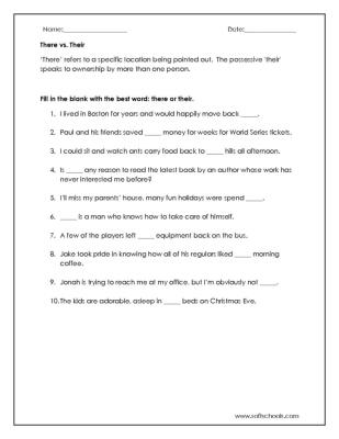There vs. Their Worksheet Worksheet