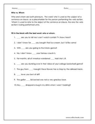 Who Vs Whom Worksheet Worksheet