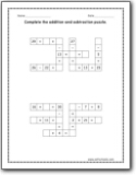 addition and subtraction puzzle worksheets. Black Bedroom Furniture Sets. Home Design Ideas