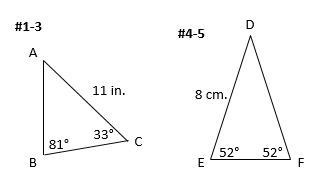 Using the law of sines to find an unknown side find the length of side c 2 find the measure of angle a 3 find the length of side a 4 find the length of side e 5 find the length of side d ccuart Gallery