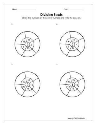 Division Facts 2, 3 and 4 Worksheet