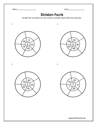 Division Worksheets division worksheets grade 7 : Division Facts 5, 6, 7 and 8 Worksheet