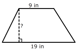 Area of trapezoid the area of the trapezoid is 168 in2 determine the height ccuart Choice Image