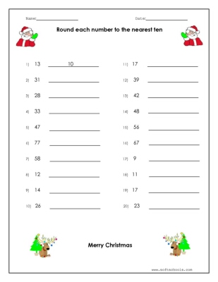 christmas rounding worksheet worksheet. Black Bedroom Furniture Sets. Home Design Ideas