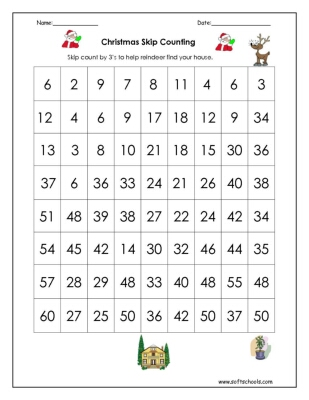 christmas skip counting by 3 worksheet. Black Bedroom Furniture Sets. Home Design Ideas